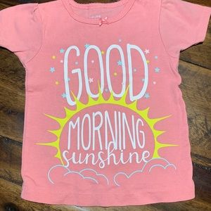 Carter's pink t-shirt tee good morning sunshine